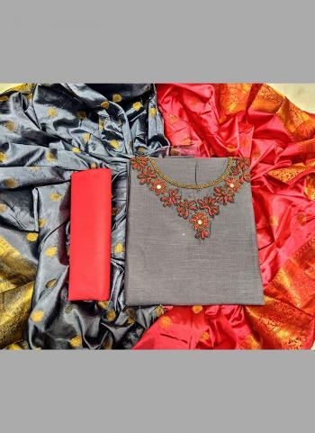 Regular Wear Grey Cotton Embroidery Work Salwar Suit
