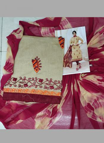 Daily Wear Beige And Pink Silk Embroidery Work Salwar Suit