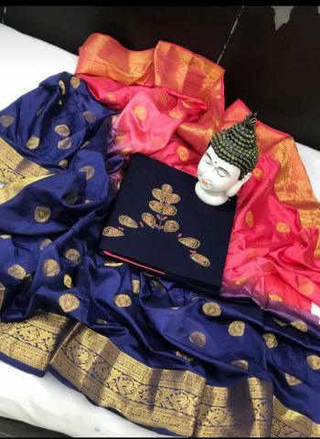 Casual Wear Navy Blue Cotton Embroidery Work Salwar Suit