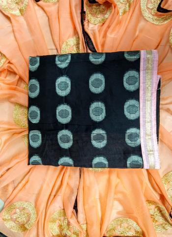 Casual Wear Black Banarasi Jacquard Salwar Suit