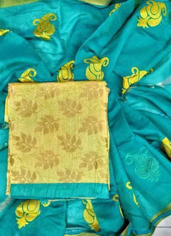 Regular Wear Beige And Sky Blue Banarasi Jacquard Salwar Suit