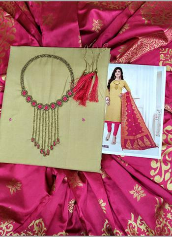 Casual Wear Beige Cotton Hand Work Salwar Suit