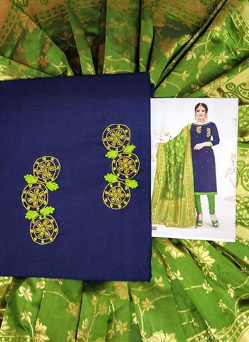 Casual Wear Navy Blue Cotton Hand Work Salwar Suit