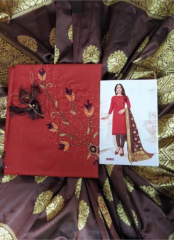 Casual Wear Red Cotton Hand Work Salwar Suit