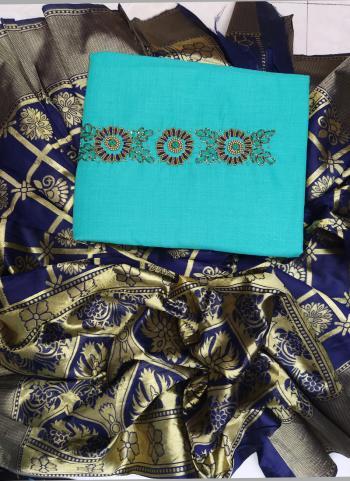 Casual Wear Hand Work Sky Blue Cotton Salwar Suit
