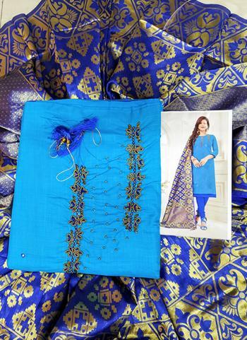 Casual Wear Sky Blue Cotton Hand Work Salwar Suit