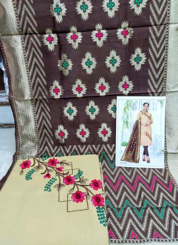 Daily Wear Beige Cotton Embroidery Work Salwar Suit