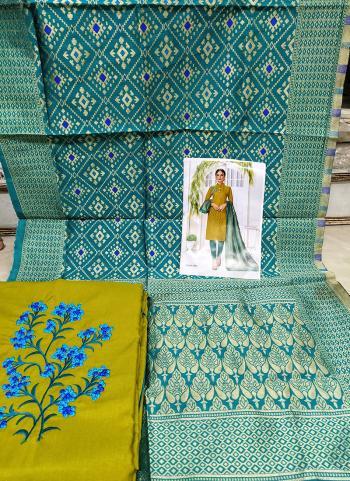 Daily Wear Light Green Cotton Embroidery Work Salwar Suit