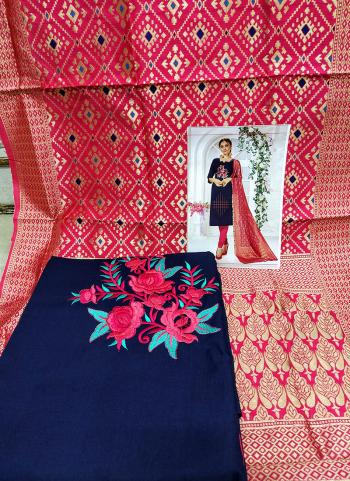 Daily Wear Navy Blue Cotton Embroidery Work Salwar Suit