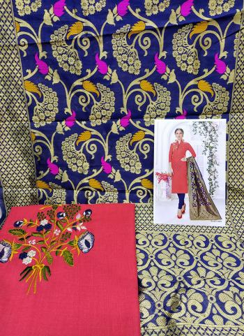 Daily Wear Pink Cotton Embroidery Work Salwar Suit