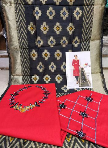 Daily Wear Red Cotton Embroidery Work Salwar Suit