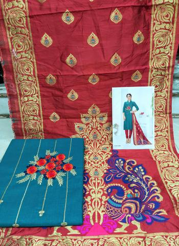 Daily Wear Sky Blue Cotton Embroidery Work Salwar Suit
