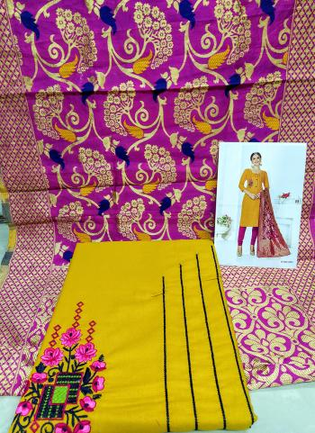 Daily Wear Yellow Cotton Embroidery Work Salwar Suit