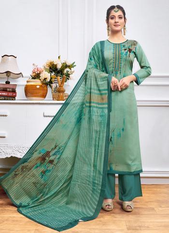 Regular Wear Green Jam Silk Embroidery Work Palazzo Suit