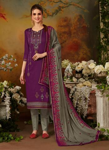 Daily Wear Purple Jam Silk Embroidery Work Straight Suit