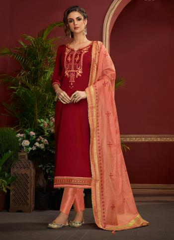 Regular Wear Red Jam Silk Embroidery Work Straight Suit