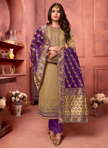 Casual Wear Beige Jam Silk Embroidery Work Straight Suit