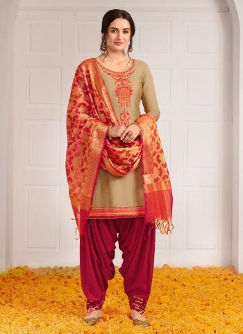 Festival Wear Beige Jam Silk Khatli Work Patiala Suit