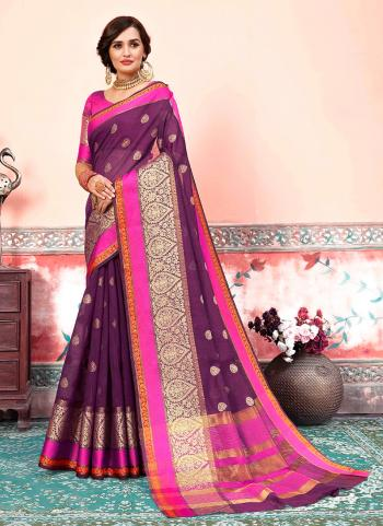 Traditional Wear Wine Cotton Silk Weaving Saree