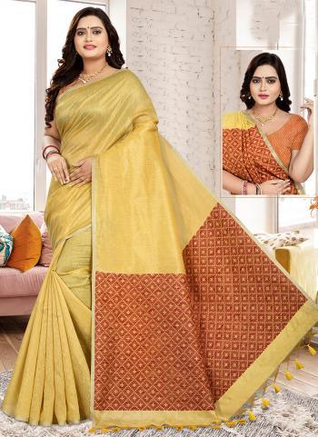 Casual Wear Golden Cotton Linen Saree
