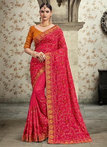 Party Wear Rani Georgette Silk Zari Work Saree
