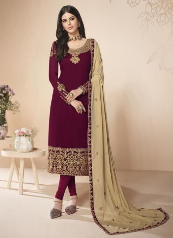 Party Wear Maroon Faux Georgette Embroidery Work Churidar Suit