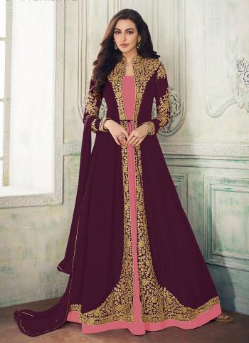 Festival Wear Wine Georgette Embroidery Work Salwar Suit