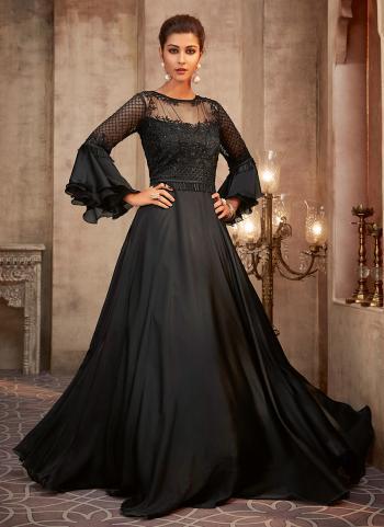 Black Georgette Silk Wedding Wear Embroidery Work Anarkali Suit