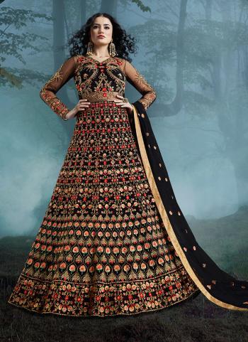 Black Net Reception Wear Heavy Embroidery Work Anarkali Suit