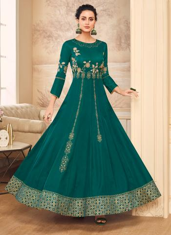 Green Muslin Satin Party Wear Embroidery Work Gown