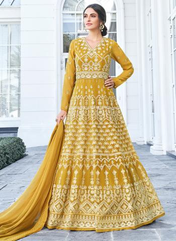 Yellow Georgette Festival Wear Embroidery Work Anarkali Suit