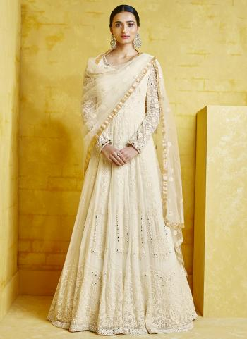 Cream Georgette Reception Wear Embroidery Anarkali Suit Top Readymadeand Bottom semi stitched
