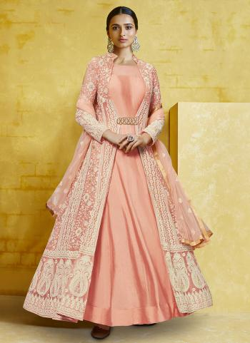 Peach Georgette Reception Wear Embroidery Anarkali Suit Top Readymadeand Bottom semi stitched