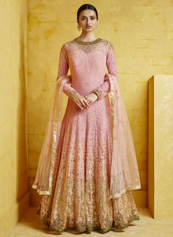 Pink Georgette Reception Wear Embroidery Anarkali Suit Top Readymadeand Bottom semi stitched