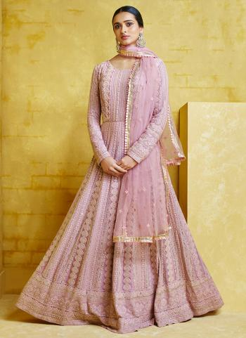 Pink Georgette Reception Wear Embroidery Work Anarkali Suit Top Readymadeand Bottom semi stitched