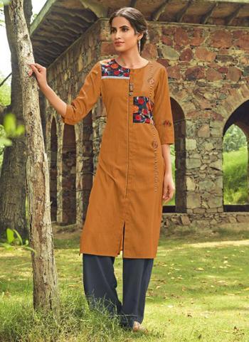 Orange Rayon Regular Wear Embroidery Work Kurti