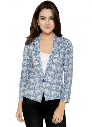Ice Blue Cotton Casual Wear Printed Work Jacket