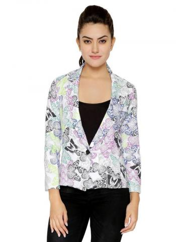 Multi Color Cotton Casual Wear Printed Jacket