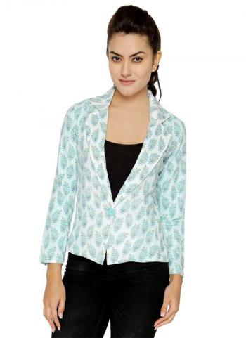 Sky Blue Cotton Casual Wear Printed Jacket