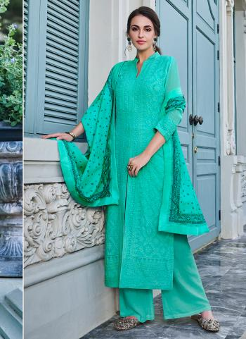 Teal Georgette Festival Wear Embroidery Work Palazzo Suit