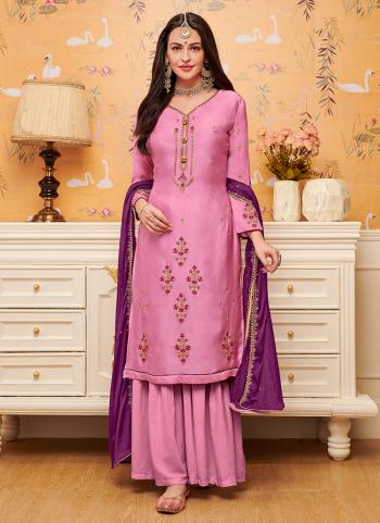 Pink Georgette Satin Casual Wear Diamond Work Palazzo Suit