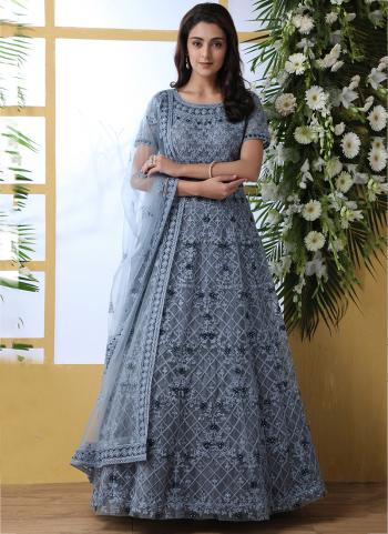 Grey Net Party Wear Thread Work Anarkali Suit
