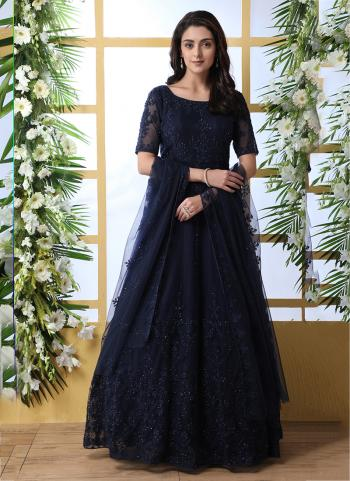 Navy Blue Net Party Wear Thread Work Anarkali Suit