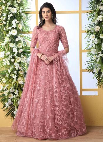 Pink Net Party Wear Thread Work Anarkali Suit