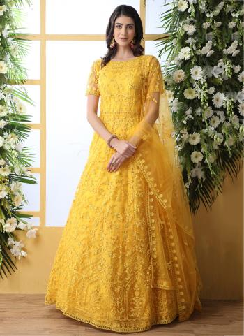 Yellow Net Party Wear Thread Work Anarkali Suit