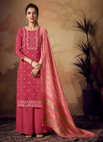 Pink Viscose Festival Wear Banarasi Palazzo Suit