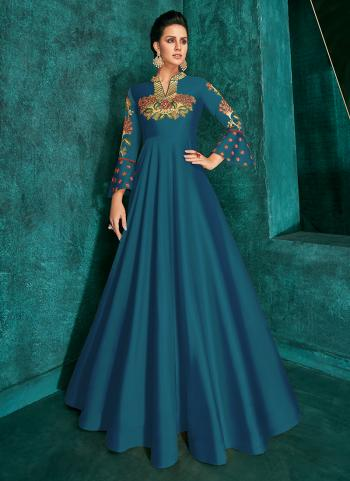 Blue Triva Silk Festival Wear Embroidery Work Gown