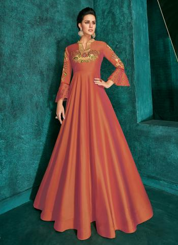 Orange Triva Silk Festival Wear Embroidery Work Gown