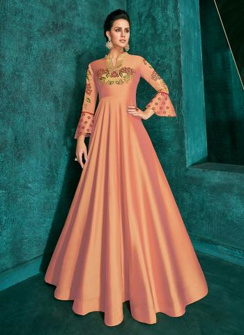 Peach Triva Silk Festival Wear Embroidery Work Gown