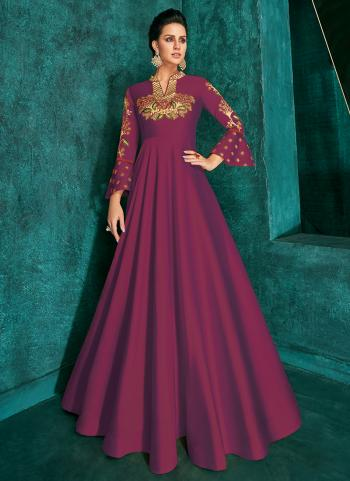 Violet Triva Silk Festival Wear Embroidery Work Gown